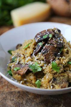 Spaghetti squash with mushrooms parmesan - Pickled Plum