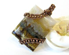 Prudent Man Agate Wire Wrapped Pendant Handmade by BellaDivaBeads