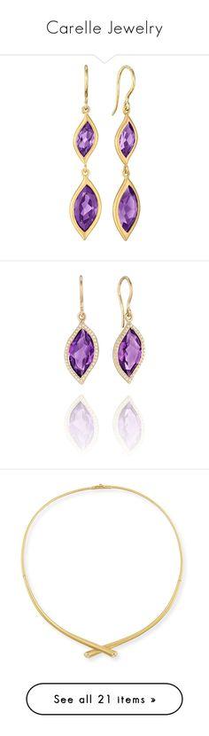"""""""Carelle Jewelry"""" by bleubeauty1 on Polyvore featuring jewelry, earrings, 18k yellow gold earrings, 18k earrings, gold leaf earrings, 18 karat gold earrings, 18k gold jewelry, leaves jewelry, amethyst jewelry and amethyst jewellery"""