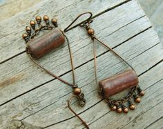 Hammered Copper and Wire Wrapped Picasso Czech by BearRunOriginals