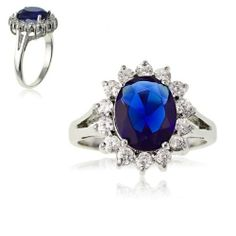 Sterling Silver Oval Blue Sapphire and CZ Princess Diana/Kate Middleton Ring. Available in sizes 6 through 9