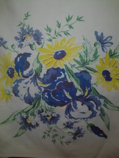Large Vintage Floral Tablecloth in Blues & by LakeEffectLinens Vintage Linen, Vintage Textiles, Vintage Floral, Retro Vintage, Floral Tablecloth, Vintage Tablecloths, Table Clothes, Retro Fabric, Kitchen Linens
