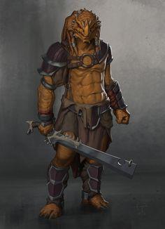 Dragonborn Barbarian, Ted Ottosson on ArtStation at https://www.artstation.com/artwork/dragonborn-barbarian