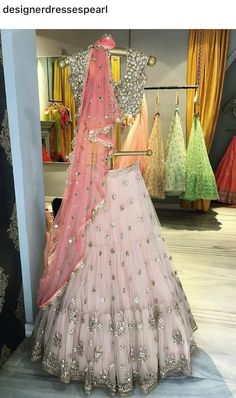 Soft pink and silver lehenga for an Indian bride wedding events Indian Wedding Outfits, Bridal Outfits, Indian Outfits, Bridal Dresses, Indian Clothes, Desi Clothes, Prom Dresses, Indian Lehenga, Pink Lehenga
