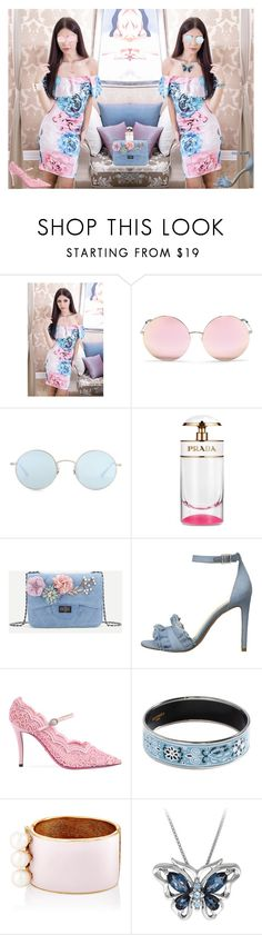 """""""Pink or Blue?"""" by bevmardesigns ❤ liked on Polyvore featuring Matthew Williamson, Oliver Peoples, Prada, Jessica Simpson, Gucci, Hermès and Maison Mayle"""