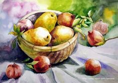 Botanical Art, Still Life, Watercolor Paintings, Fruit, Vegetables, Blog, Water Colors, Lawn And Garden, Vegetable Recipes