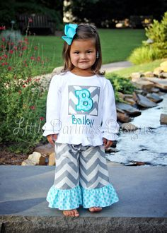 Custom Girls Gray Chevron with Sea Polka Ruffle Pants. $24.00, via Etsy.