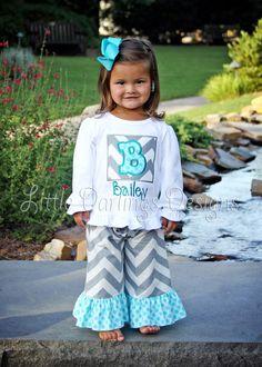 Custom Girls Gray Chevron with Sea Polka Ruffle Pants. $24.00, via Etsy.