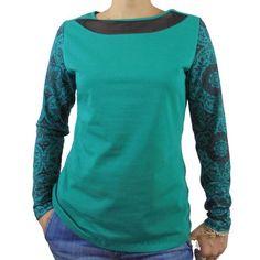 Camiseta algodon verde escote transparente mangas estampadas