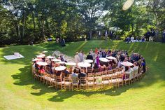 It doesn't cost any extra money to get creative with your #wedding ceremony seating. Ceremony semi-circle.