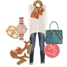 In this outfit: Sashay More? Top, Out to Be Awesome Jeans, See and Be Seine Scarf, Teacup and Running Watch, In the Cabana Bracelet in Orange, Full Course Load Bag in Matte Teal, Cruise Musing Heel #boho #casualchic #parisian #blouse #simple #ootd