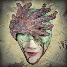 Shady Lady - Ceramic wall mask. $550.00, via Etsy.