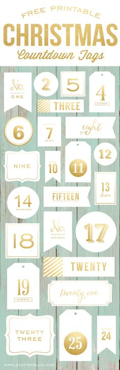 FREE Printable Gold Foil Advent Calendar / Christmas Countdown Tags -- great for december daily too! Christmas Countdown, Noel Christmas, Winter Christmas, All Things Christmas, Vintage Christmas, Holiday Crafts, Holiday Fun, Diy Calendario, Kalender Design