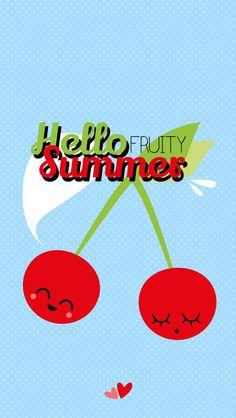 iPhone Hello Summer Fruit Edition - Cherries Cherry Blue Lock