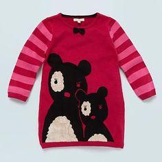 Girl's pink panda motif knitted dress - Day - Girls dresses - Kids -