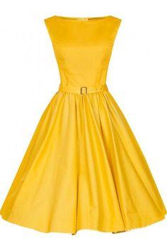 Yellow Vintage Sleeveless, Midi Party Dress