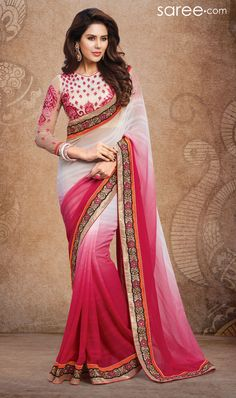 WHITE AND PINK CHIFFON SAREE WITH RESHAM EMBROIDERY WORK