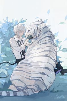 Charles and Guardian (White Tiger) - Anime Thing Stray Dogs Anime, Bongou Stray Dogs, Cute Anime Guys, Anime Boys, Manga Anime, Anime Art, Photo Manga, Dog Wallpaper, Bungou Stray Dogs Wallpaper