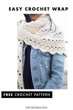 Crochet Lace Scarf, Crochet Shawl Free, Crochet Wrap Pattern, Crochet Shawls And Wraps, Easy Crochet Scarf Patterns, Crochet Flowers, Crochet For Beginners, Crochet Fashion, Summer Wraps