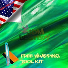 """Free Tool Kit EZAUTOWRAP Green Holographic Rainbow Chrome Car Vinyl Wrap Sticker Decal Sheet - 12""""X60"""" (1FT X 5FT). For product info go to:  https://www.caraccessoriesonlinemarket.com/free-tool-kit-ezautowrap-green-holographic-rainbow-chrome-car-vinyl-wrap-sticker-decal-sheet-12x60-1ft-x-5ft/"""