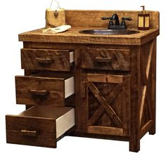 Classic ranch styling for the bathroom, this rustic barn door style circle sawn pine vanity cabinet features solid wood construction with full extension drawers and overlay doors. Rustic Bathroom Designs, Rustic Bathroom Vanities, Bathroom Red, Bathroom Wall Decor, Bathroom Ideas, Bathtub Ideas, Stone Bathroom, Lodge Bathroom, Cabin Bathrooms
