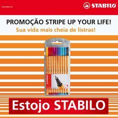 Quer ganhar um estojo cheio de #STABILO? Então participe da #promoção #stripeupyourlife no nosso Facebook (www.fb.com/STABILOBrasil). Mostre seu estilo laranja e branco listrado e peça votos. Tem prêmios toda semana! :D