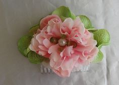 Bridal Pink Peony Hydrangea Hair Comb Fascinator by lovelygifts, $25.00