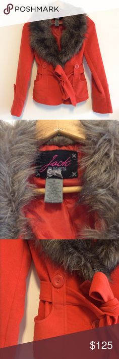 """BB Dakota """"Jack"""" Orange Faux Fur Coat NWOT Brand new, never worn! Gorgeous """"Jack"""" BB Dakota faux fur coat. Awesome, luxurious faux fur collar. Two buttons with very figure flattering belt to cinch the waist. NWOT, purchased for my daughter at Nordstrom but wasn't quite her style. No trades. 20% off bundles. Thank you! BB Dakota Jackets & Coats Pea Coats"""