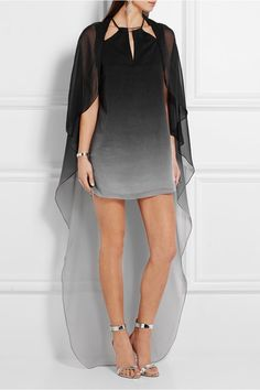 Charcoal and gray crinkled-chiffon Clasp-fastening keyhole at back 100% polyester Dry clean Designer color: Charcoal/ Haze Tonal Ombré Print