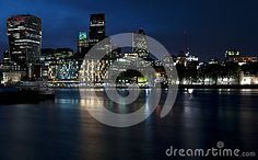 Night view on the Thames river. London