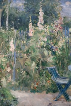 An poster sized print, approx (other products available) - Hollyhocks (Roses tremieres), Found in the collection of Musee Marmottan Monet, Paris. - Image supplied by Heritage Images - poster sized print mm) made in Australia Pierre Auguste Renoir, Manet, Berthe Morisot, Summer Landscape, Hollyhock, Impressionism Art, Heritage Image, Art Images, Landscape Paintings