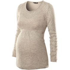 H&M MAMA Jumper ($20) ❤ liked on Polyvore featuring maternity, maternity clothes, tops, pregnant, maternity tops and beige