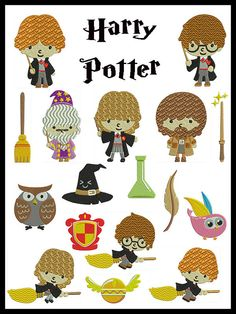 Set of 17 HARRY POTTER Machine Embroidery by embroiderquilt, $9.00
