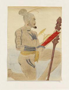 Paul Jacoulet. Portrait de Ramon, homme de Gorior, Série Pirogues. Fait à Palaos, 1935