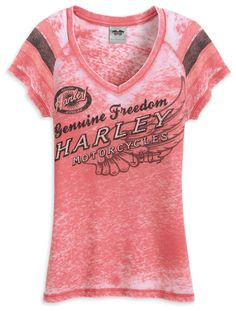 womens harley davidson v-neck shirts | Harley-Davidson® Womens Burnout V-Neck Pink Short Sleeve T-Shirt ...