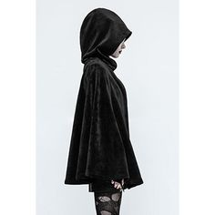 Mishka Cape by Punk Rave ($120) ❤ liked on Polyvore featuring outerwear, cape cloak, hooded cape coat, hooded cloak, cloak cape and cape coat