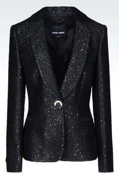 The official online Giorgio Armani store for the finest Italian clothing, shoes, & many more fashion and lifestyle items from the collection. Sequin Blazer, Sequin Jacket, Blazer Jacket, Armani Blazer, Armani Jacket, Armani Women, Boucle Jacket, Formal Looks, Line Jackets