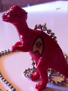 Star Trek inspired Pachycephalosaurus hand painted toy on a silver ball chain.  Special Uses: (1) Ward off mean people because they know youre friends with dinosaurs, (2) Make friends who like dinosaurs as much as you do, (3) Establish good rapport with children so they will share with you and/or respect you, (4) Look awesome. Fun Fact: The Pachycephalosaurus is the most famous of its clade, and is best distinguished by its dome skull. Paleontologists have been debating over how the dino...