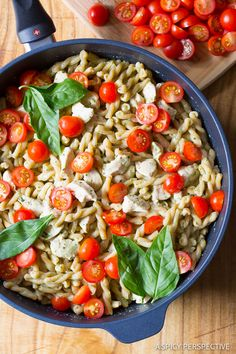 One Pot Chicken Pasta with Light Basil Cream Sauce on ASpicyPerspective.com #healthy #dinner #onepot