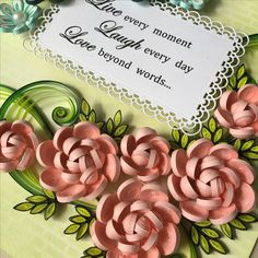 Paper Quilling Roses, blue and pink, for a box frame!