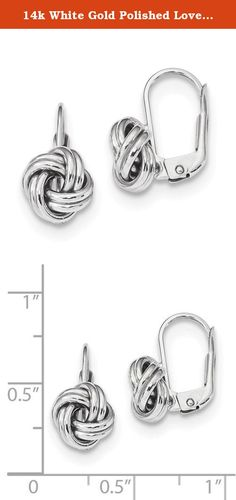 14k White Gold Polished Love Knot Leverback Earrings. Product Description Material: Primary - Purity:14K Finish:Polished Length of Item:17 mm Feature:Hollow Manufacturing Process:Casted Material: Primary:Gold Width of Item:9 mm Product Type:Jewelry Jewelry Type:Earrings Sold By Unit:Pair Material: Primary - Color:White Earring Closure:Leverback Earring Type:Drop & Dangle.