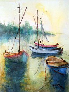 Boats Are Resting Print by Faruk Koksal