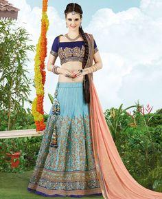 Buy Lovely Blue Lehenga Choli online at  https://www.a1designerwear.com/lovely-blue-lehenga-choli-6  Price: $88.19 USD