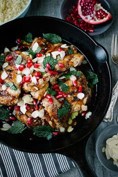 Rosewater Chicken with Pomegranate and Mint