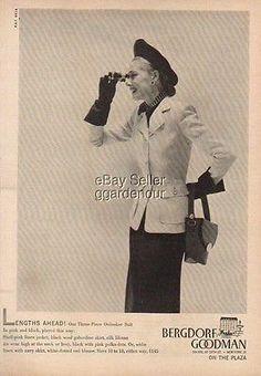 1947 Bergdorf Goodman Department Store New York NY40s Kay Bell Fashion Photo Ad | eBay