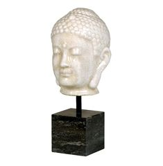 Antique White Ceramic Buddha Head Sculpture on Marble Base   Kathy Kuo Home
