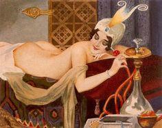 soyouthinkyoucansee:  Alberto Vargas Sultans Favorite. 1916 orient- water pipe,
