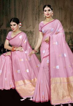 Buy Light Pink Chanderi Silk Saree With Blouse 204522 with blouse online at lowest price from vast collection of sarees at Indianclothstore.com. Chanderi Silk Saree, Silk Sarees, Indian Costumes, Blouse Online, Belly Dance, Pink, Indian Suits, Rose, Bellydance