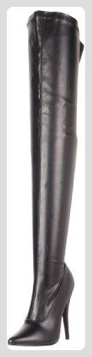 Devious Domina-3000, Damen Kurzschaft Stiefel , schwarz - Noir (Blk Str Pu