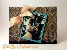 19th Wedding Anniversary Card with ribbon, gems and fleur-de-lys via CardsByStephanie.com